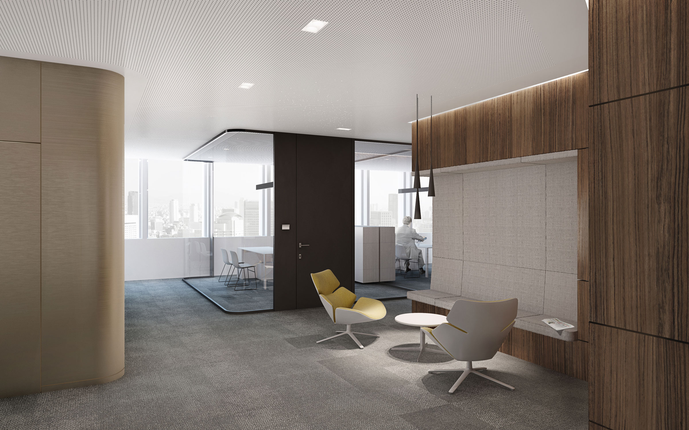 Constructional corporate design German diplomatic representation, waiting area