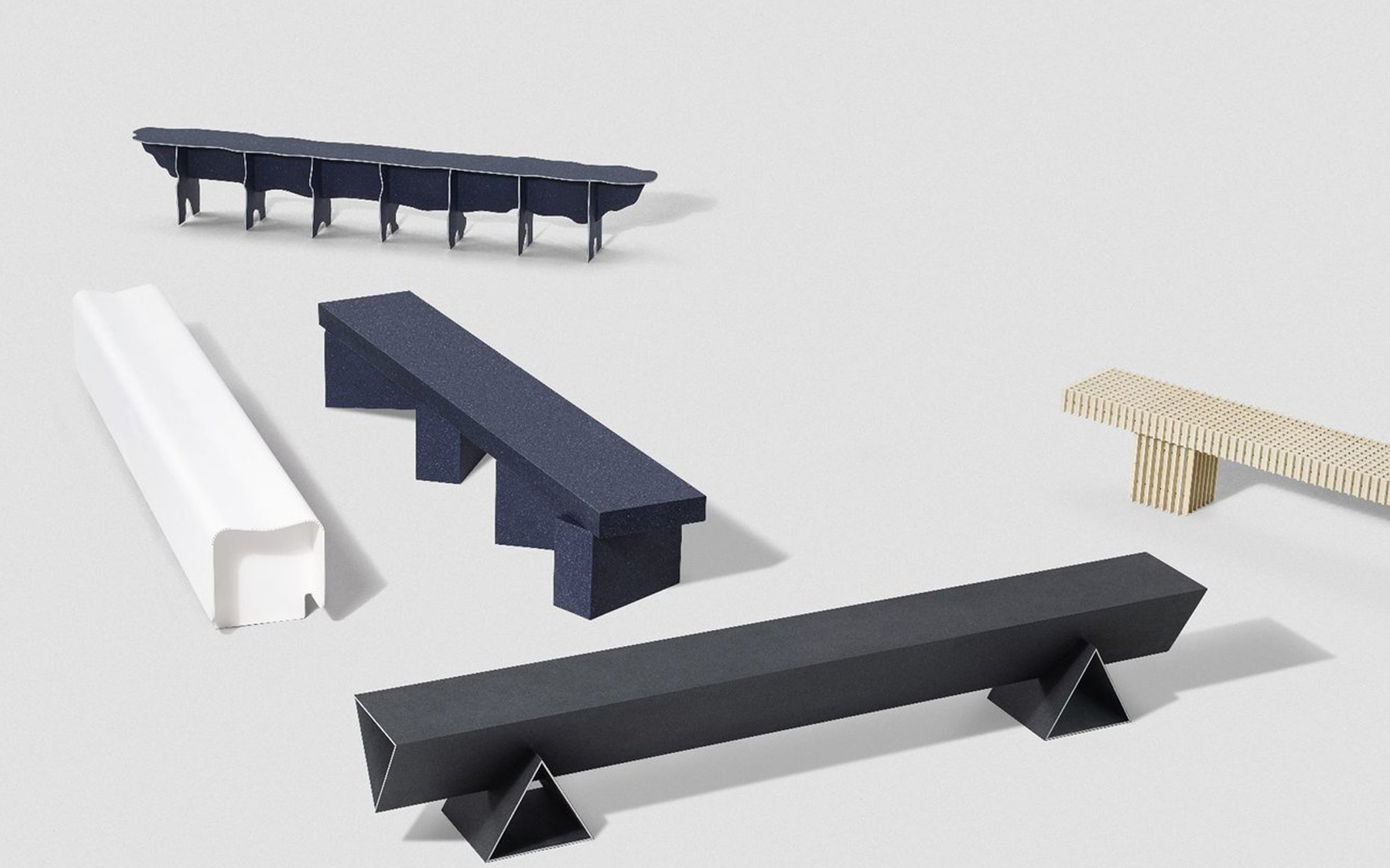 Solid Textile Board Benches by Max Lomb